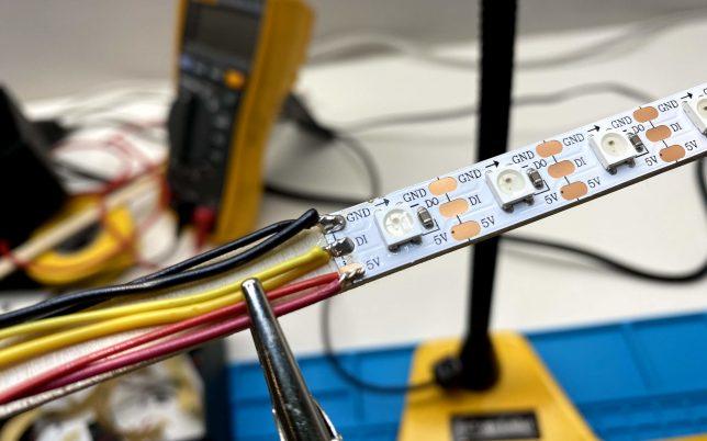 Soldering a neopixel strip for a ESP32 Light Tower